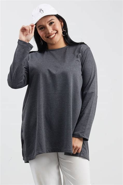 Atasan Tangan Lebar Blouse Cantik Simple Top sell wenly slit top drak grey blouse berrybenka