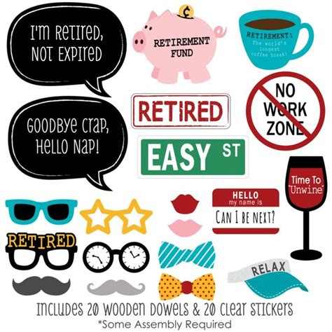printable retirement photo booth props amazon com retirement photo booth props kit 20 count