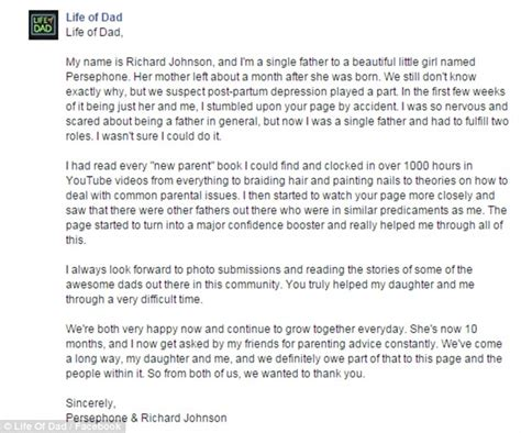 thank you letter to deadbeat richard johnson details struggle to raise his 10 month