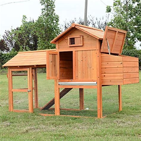 pawhut 82 inch deluxe backyard wood chicken coop with run