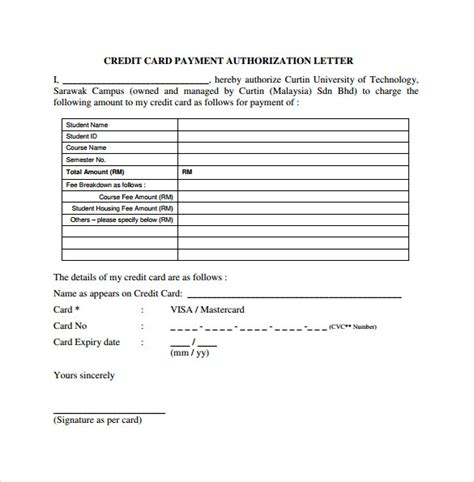 credit card authorization form template for air ticket authorization letter for credit card air ticket sle
