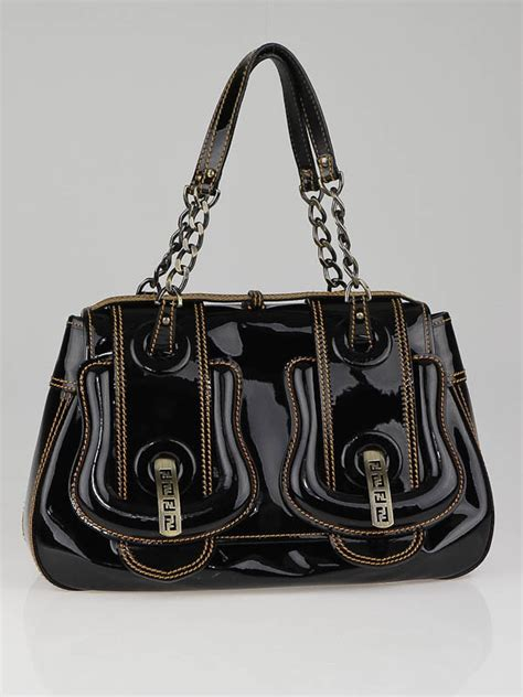 Fendi Patent B Bag Is Oh So fendi black patent leather b bag yoogi s closet