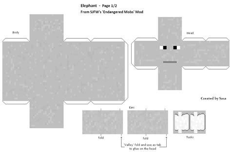 Papercraft Elephant - papercraft elephant endangered mobs mod
