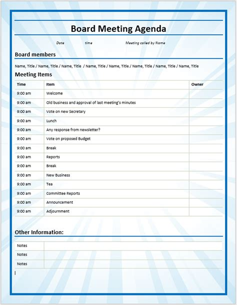 board meeting agenda template 9 free business meeting agenda templates format exle