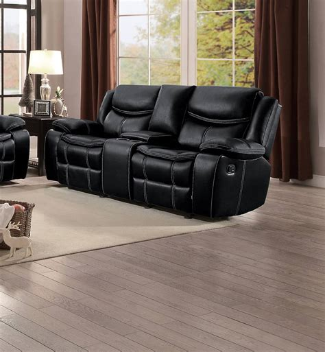 Black Leather Recliner Sofa Set Homelegance Bastrop Reclining Sofa Set Black Leather Gel