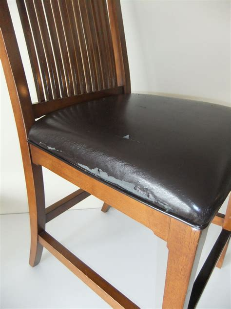 Covering Dining Chair Seats Makeover For Torn Leather Dining Room Chairs