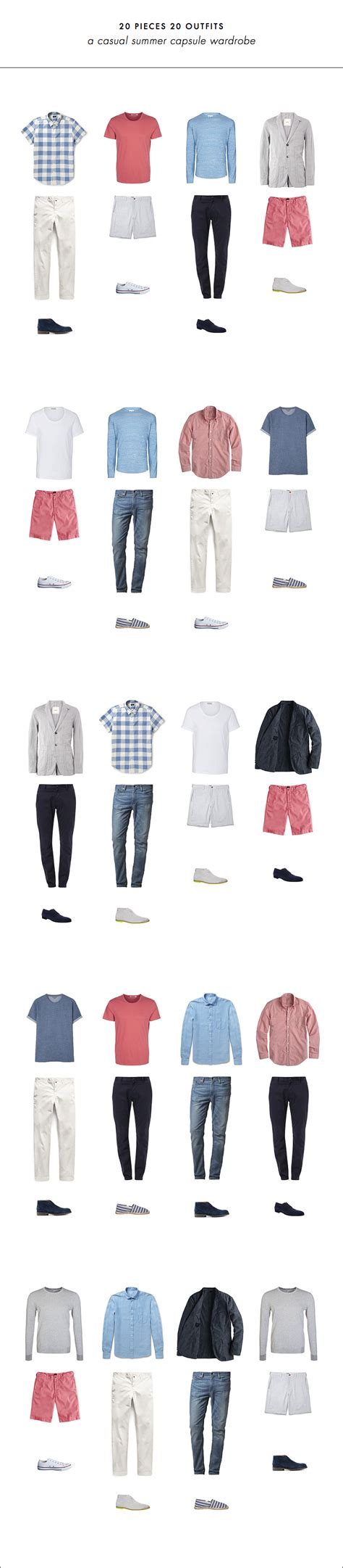 mens minimalist wardrobe 20 pieces 20 outfits an easy summer capsule wardrobe for