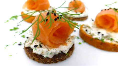easy smoked salmon canapes salmon canapes recipe dishmaps