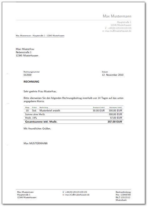 Muster Rechnungen Word Vorlagen F 252 R Briefe Und Rechnung Meinnoteblog S