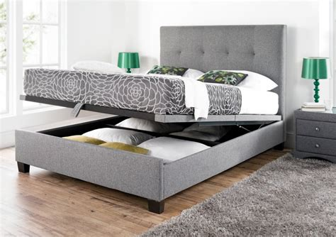 Kaydian Walkworth Ottoman Storage Bed Smoke Fabric Storage Bed Ottoman