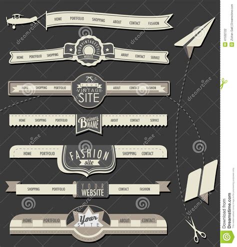 vintage home decor websites website headers and navigation elements in vintage style