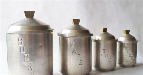1930 s french kitchen white canisters set of 3 french set of 4 french vintage kitchen canisters white metal