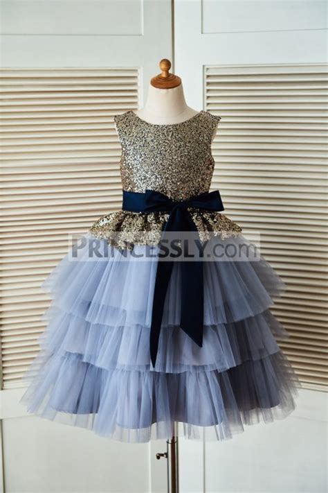 gold sequin blue cupcake tulle flower dress with navy
