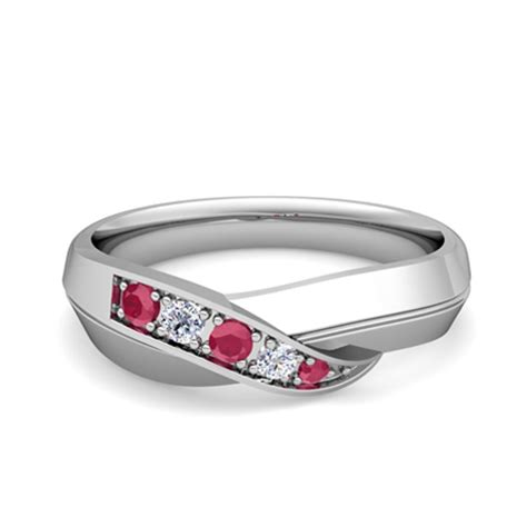 infinity mens wedding band infinity and ruby mens wedding band ring in 14k gold
