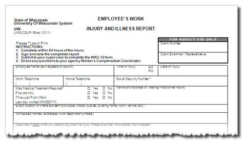 Forms Worker S Compensation Lost Time Injury Report Template