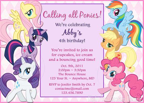 free printable my little pony birthday invitations