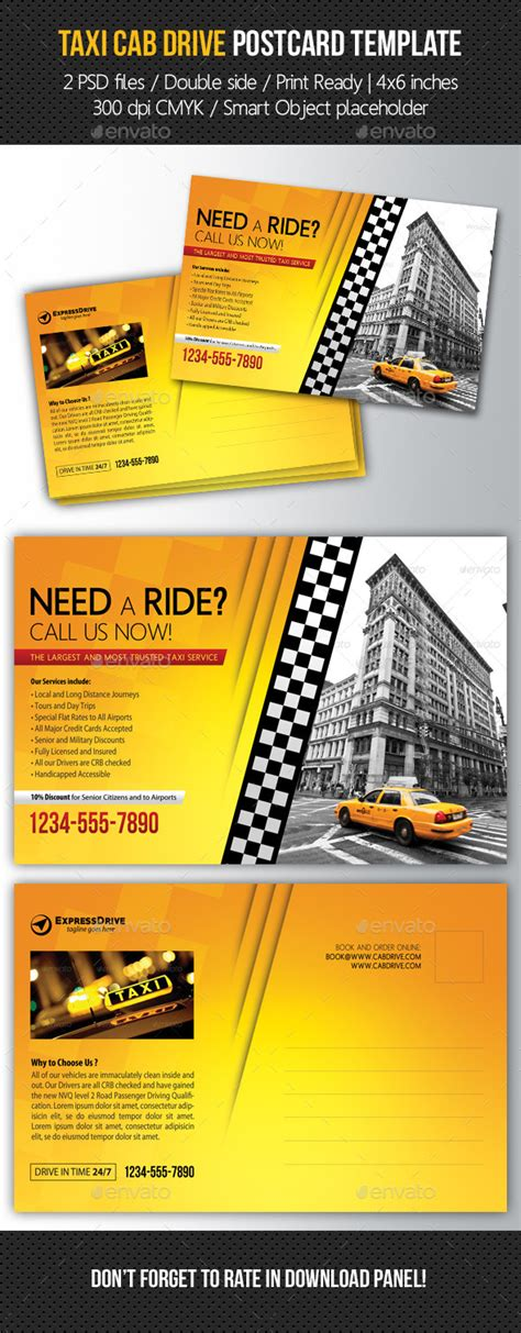 post card template drive taxi cab drive postcard template by rapidgraf graphicriver