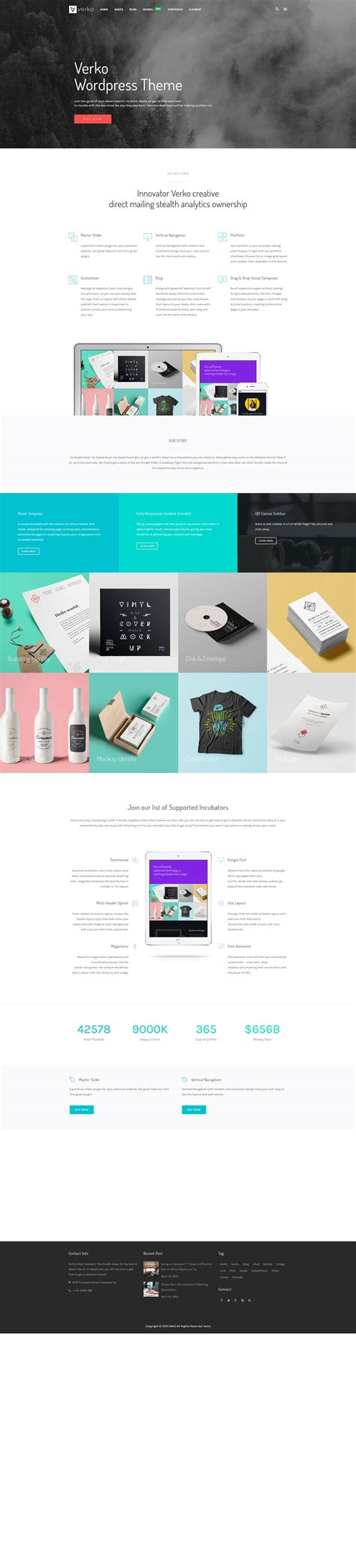 theme wordpress one page responsive verko responsive business one page wp theme by dahz