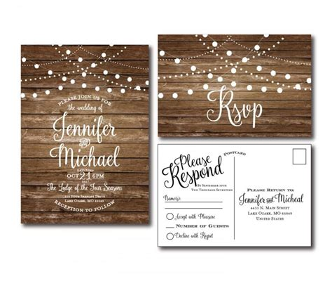 rustic wedding invitation printable set country wedding rustic wedding invitation rsvp postcard set country