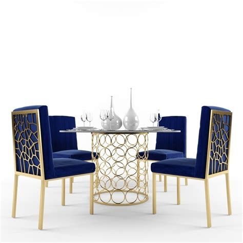 Gold Dining Room Chairs D Meridian Opal Dining Room Set In Gold And Navy On Dining Table And Chairs Gold