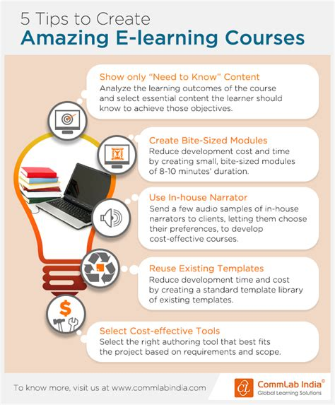 5 tips to create amazing e learning courses infographic