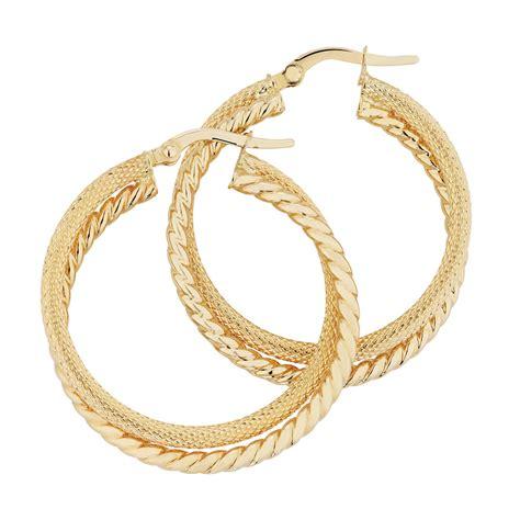 textured hoop earrings in 10kt yellow gold
