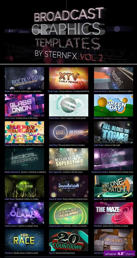 broadcast graphics templates broadcast graphics templates vol 2 after effects