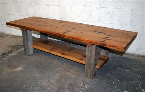 made reclaimed fir and barn wood coffee table by