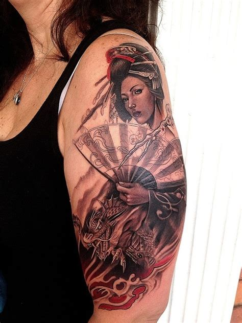 asian girls with tattoos half sleeve japanese geisha design for