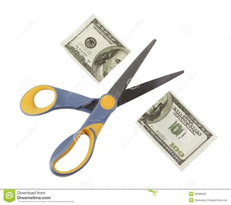 Hiltons Time Cut In Half by Scissors Cut A Hundred Dollar Bill In Half Stock