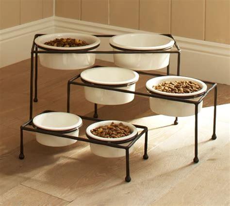 food bowl stand paw print pet food bowl stand pottery barn