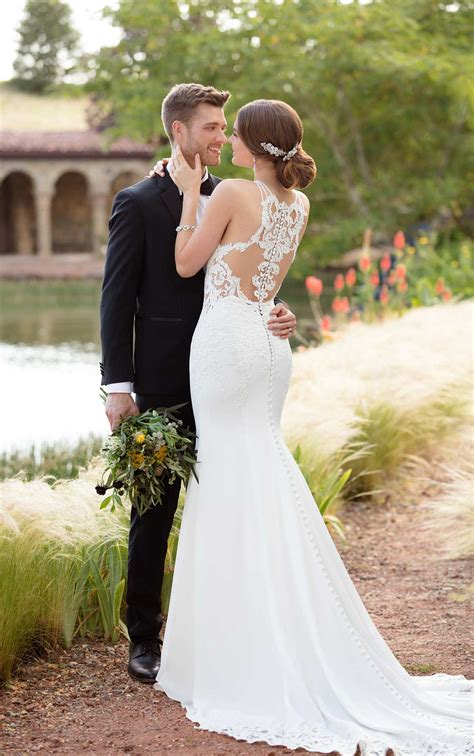 Simple Wedding Photos by Simple Lace Wedding Gown Essense Of Australia Wedding Gowns