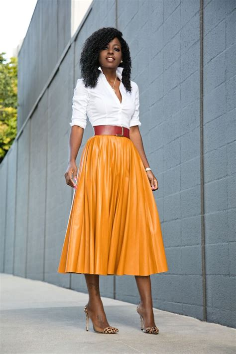 Shirt Pleated Skirt button shirt faux leather pleated midi skirt style