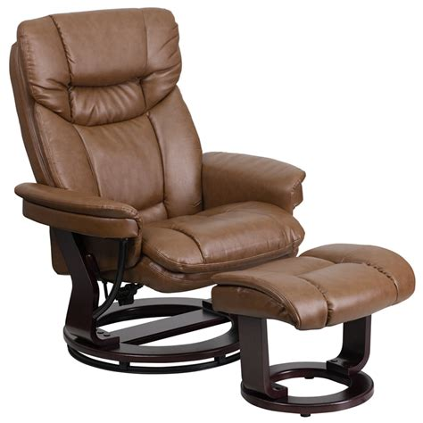 Leather Reclining Chair With Ottoman Contemporary Palimino Leather Recliner And Ottoman With Swiveling Mahogany Wood Base Bt 7821