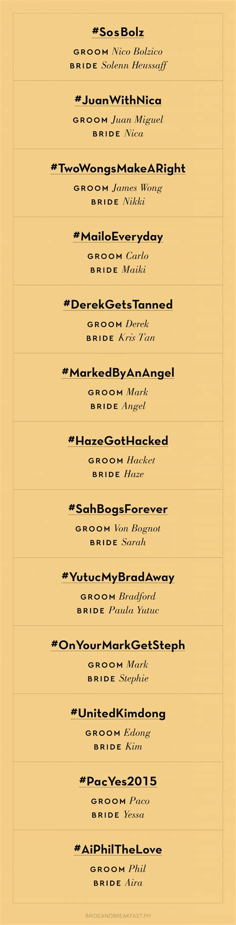 Wedding Invitation Hashtags by 13 Punny Wedding Hashtags Philippines Wedding