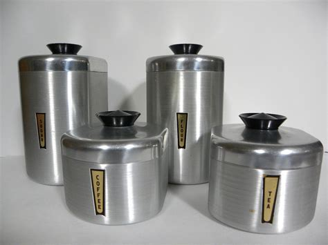kitchen canisters set of 4 vintage aluminum kitchen canister set complete set of 4
