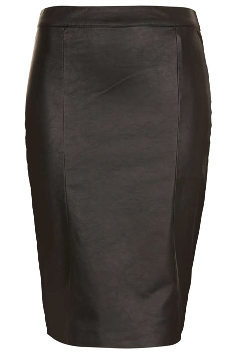 topshop black pencil bodycon leather look skirt