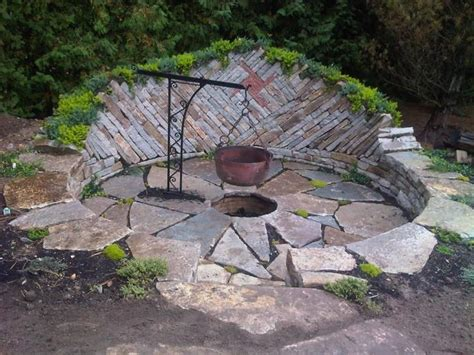 cool backyard fire pit ideas with pan also stones pavers