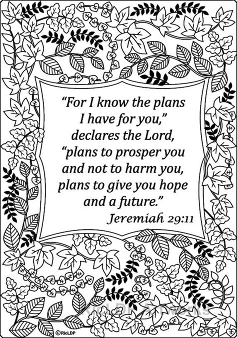 Coloring Page Jeremiah 29 11 by 15 Printable Bible Verse Coloring Pages Jeremiah 29 11