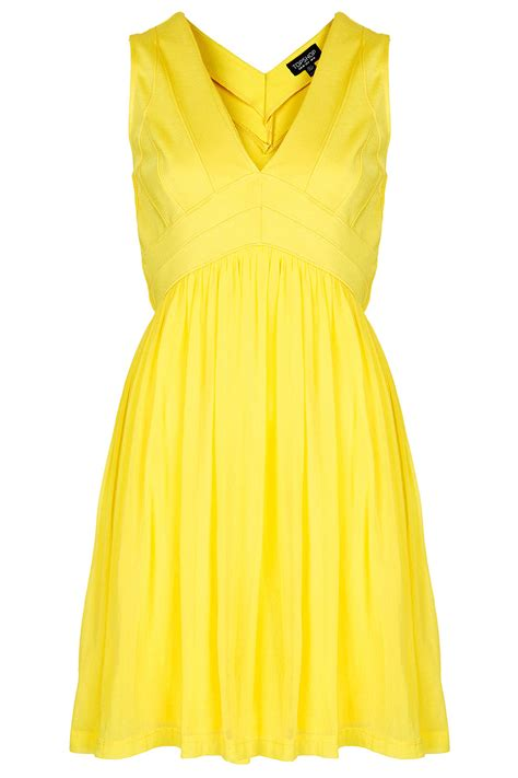 Vs Topshop by Lyst Topshop Bandage V Skater Dress In Yellow