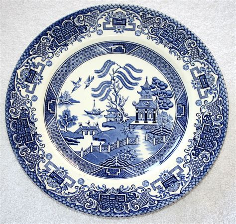blue pattern porcelain vintage english ironstone pottery dinner plates old
