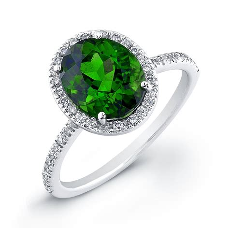 oval indicolite halo micro pave colored ring