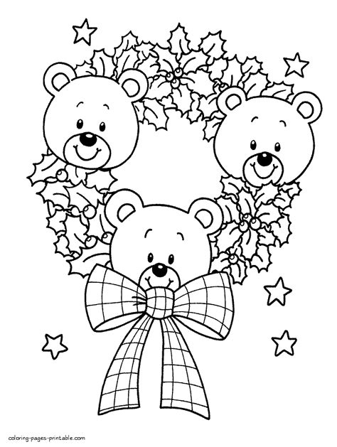 holidays coloring pages teddy bear christmas teddy bears coloring pages
