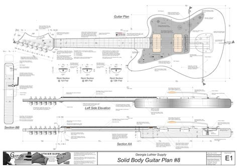 printable jazzmaster template solid body electric guitar plans 8 electronic version