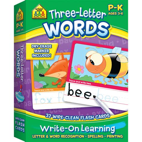 Flash Card Schoolzone 9 three letter words write on learning interactive flash cards makes learning easy school zone