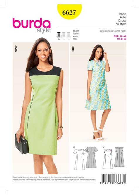 pattern sewing burda burda 6627 misses dress