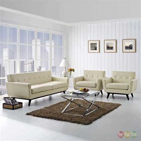 Tufted Living Room Set by Engage 3pc Button Tufted Leather Living Room