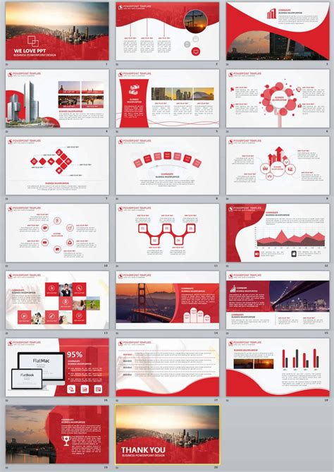 20 red business report powerpoint templates the highest