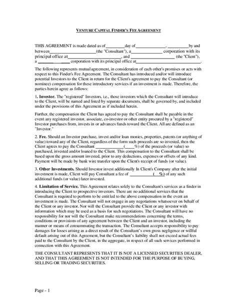 fee agreement template venture capital finder s fee agreement hashdoc