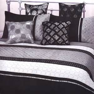 black grey silver white quilted embroidered single quilt